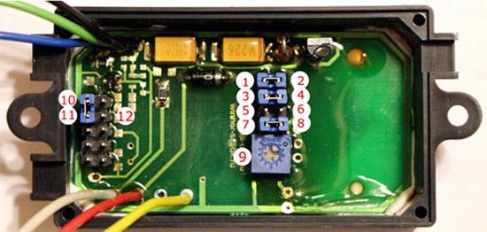 Номерация перемычек у контроллера для установки ДМРВ